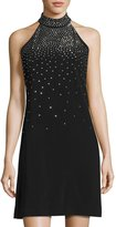 Jax Stud-Embellished Mock-Neck Dress, Black Metallic