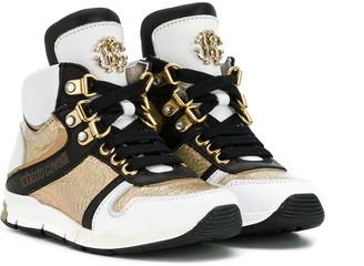 Roberto Cavalli Junior Oversized Tongue Hi-Top Sneakers