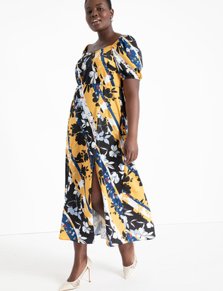 ELOQUII Mixed Print Sweetheart Dress
