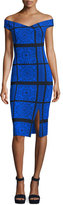 Chiara Boni Irene Geometric Off-the-Shoulder Cocktail Dress, Gothic Classic Cobalt