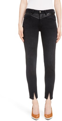 Givenchy Leather Detail Ankle Skinny Jeans