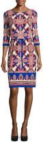 Liz Claiborne 3/4 Sleeve Paisley Shift Dress