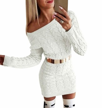 Odokei Off Shoulder Knit Jumper Dresses Women Ladies Jumper Dress Long Cable Knitted Jumpers Sweaters Women Ladys Long Sleeve Oversized Chunky Jumper Womens Pullover Sweater Casual Mini Tunic Dress Beige S