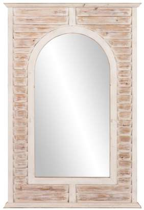 "White Wash Antique Window Shutter Arch Wall Mirror 32""x47"" by Patton Wall Decor"