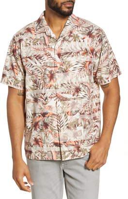 Tommy Bahama Malibu Peach Classic Fit Short Sleeve Silk Blend Button-Up Camp Shirt