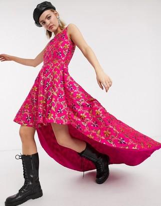 Nesavaali high low mini skater dress