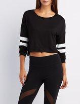 Charlotte Russe Cropped Varsity Stripe Sweatshirt