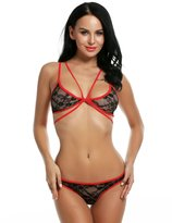 Avidlove Women Sexy Lace 2 Pieces Lingerie Set Halter Strap Cross Bandage Nightwear
