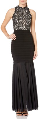 Xscape Evenings Women's Long Lace Halter Banded Gown