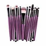 Iuhan 15 pcs/Sets Eye Shadow Foundation Eyebrow Lip Brush Makeup Brushes Tool (Purple)