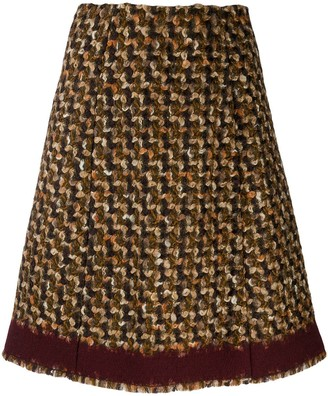 Prada Pre Owned 2000s woven houndstooth A-line skirt