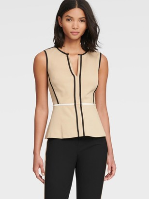 DKNY Women's Peplum Top With Contrast Piping - Khaki - Size XX-Small