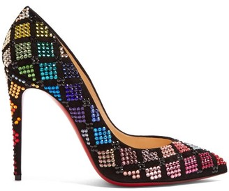 Christian Louboutin Arletta 105 Crystal-embellished Velvet Pumps - Womens - Black Multi