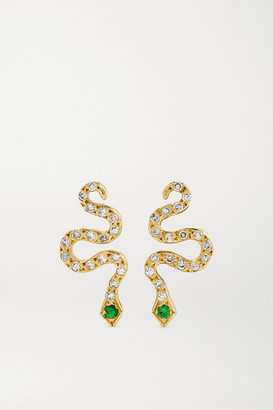 Ileana Makri Little Snake 18-karat Gold, Diamond And Tsavorite Earrings - one size