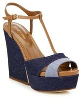 Sergio Rossi Edwige Denim & Leather Platform T-Strap Wedge Platform Sandals
