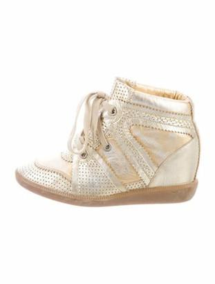 Isabel Marant Leather Wedge Sneakers Metallic