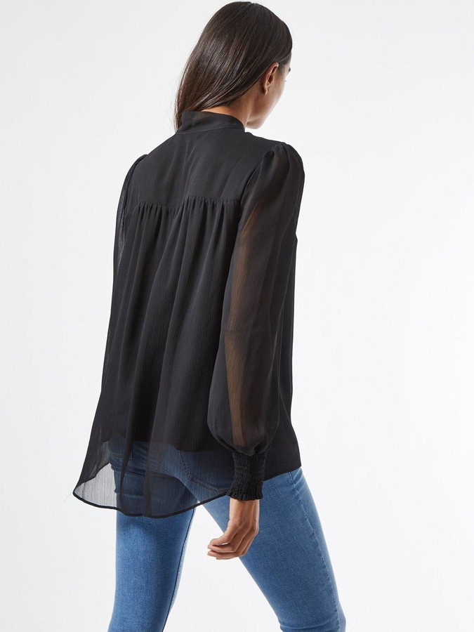 Thumbnail for your product : Dorothy Perkins Long Sleeve Tie Neck Blouse - Black