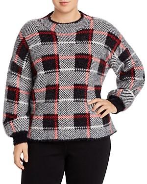 Single Thread Plus Eyelash Textured Plaid Sweater