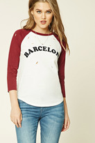 Forever 21 FOREVER 21+ Raw-Cut Barcelona Graphic Tee