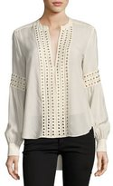 Veronica Beard Willa Grommet-Trim Long-Sleeve Blouse