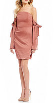 Finders Keepers Grouplove Off-the-Shoulder Tie Sleeve Sheath Dress