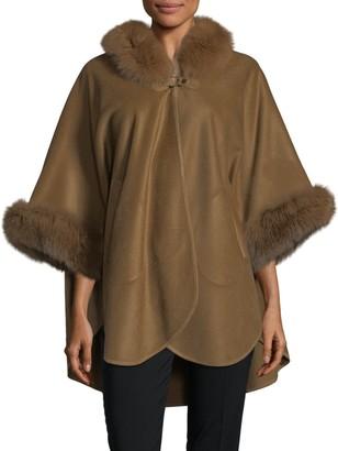 Wolfie Fur Dyed Fox Fur-Trim Cape