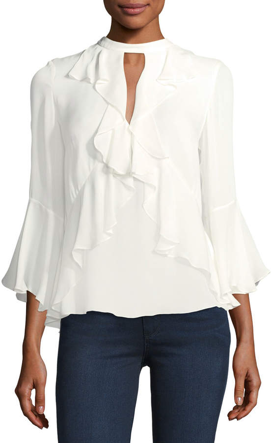 Cinq à Sept Thea High-Neck Ruffled Silk Top
