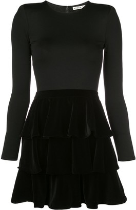 Alice + Olivia Tiered Velvet Mini Dress