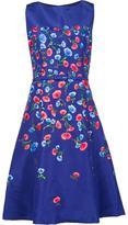 Oscar de la Renta Ausgestelltes Kleid mit floralen Stickereien