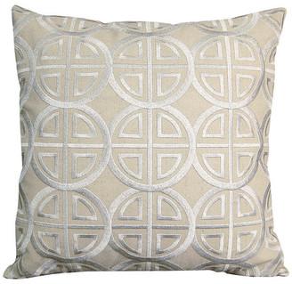 Rightside Design Modern Metallic Medallion Pillow, Silver