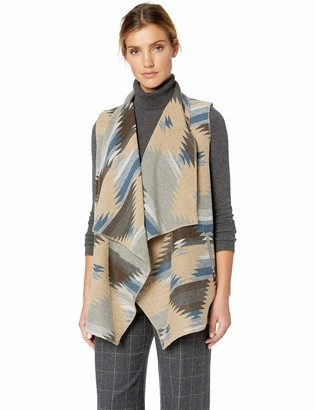 Tribal Women's Boucle Vest with Draped Collar