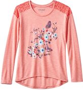 Mudd Girls 7-16 & Plus Size Lace Slub Graphic Tee