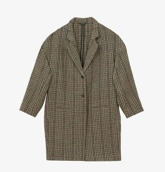 soeur Elegant Wool Coat Grey Check - 38 - UK12