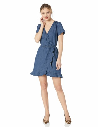 J.Crew Mercantile Women's Short-Sleeve Chambray Ruffle Wrap Dress