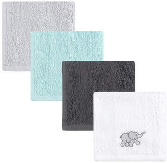 Luvable Friends Washcloths, 4-Pack, Gray Elephant, One Size