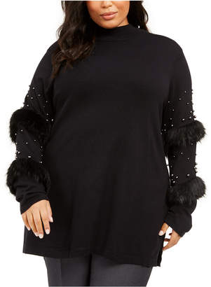 Alfani Plus Size Embellished-Sleeve Tunic