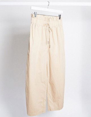 Noisy May cargo pants with paperbag waist in beige