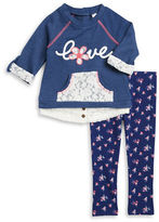 Little Lass Girls 2-6x Lace Trim Pullover and Leggings Set