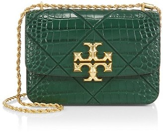 Tory Burch Eleanor Quilted Croc-Embossed Leather Shoulder Bag