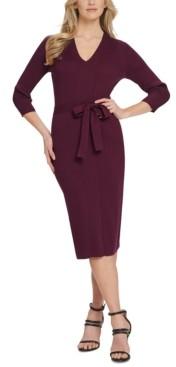 DKNY Belted V-Neck Sweater Dress