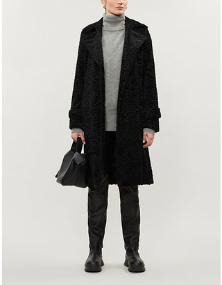 Theory Oaklane shearling and goat leather coat