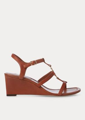 Ralph Lauren Elina Leather Wedge Sandal