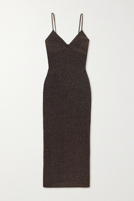 Reformation Disco Metallic Stretch-knit Midi Dress - Black