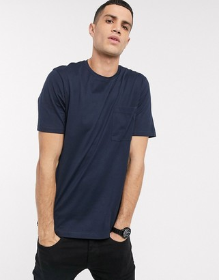 Selected organic cotton oversized one pocket t-shirt in navy