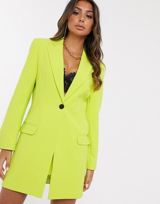 ASOS DESIGN longline suit blazer in chartreuse