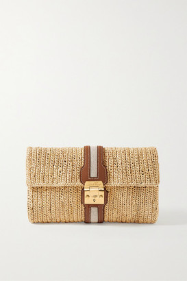 Mark Cross Sylvette Leather And Canvas-trimmed Woven Raffia Clutch - Beige