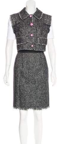 Dolce & Gabbana Embellished Tweed Skirt Set