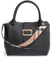 Burberry 'Medium Buckle' Leather Satchel - Black