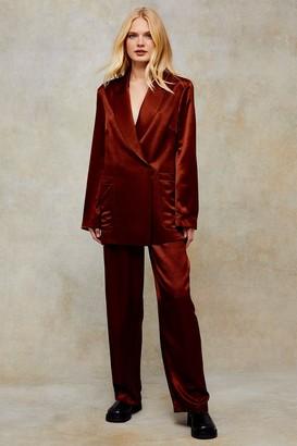 Topshop Bronze Satin Elasticated Suit Pants