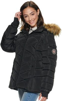 Steve Madden Juniors' NYC Short Nylon Puffer Coat